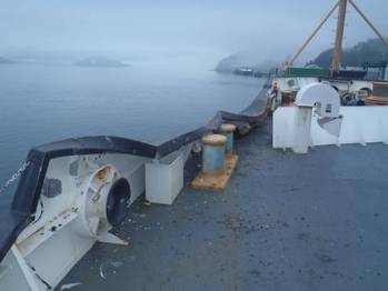 File A section of the Coast Guard Cutter Sycamore's port bow sustained damage from an allision with an Alaska Marine Lines barge while moored in the harbor of Cordova, Alaska. (U.S. Coast Guard photo by Coast Guard Cutter Sycamore.)