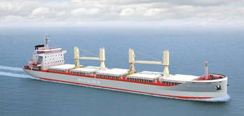 File A new generation of 35,000 dwt bulkers will feature MacGregor variable frequency drive cranes and folding-type hatch covers from Cargotec