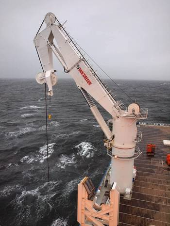 File 400t active heave compensated MacGregor offshore crane onboard North Sea Giant.