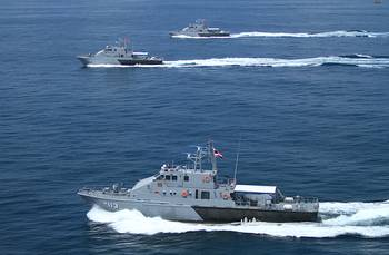 File All three of the 36-meter patrol boats in formation.