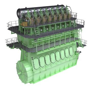 File Graphic rendering of a two-stroke, dual-fuel MAN B&W 8L70ME-GI engine. The ME-GI is capable of running on both HFO and gas – predominantly natural gas but also LPG and methane. MAN Diesel & Turbo reports a strong market reception to the engine.