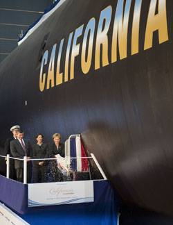 File From left to right, Cmdr. Dana Nelson, commanding officer, Pre-commissioning Unit California, Jackalyne Pfannenstiel, assistant secretary of the Navy, Energy, Installations and Environment; Mike Petters, president of Northrop Grumman Shipbuilding and Mrs. Donna Willard, sponsor of California. Northrop Grumman Shipbuilding christened the eighth submarine of the Virginia class, California (SSN 781), at the company