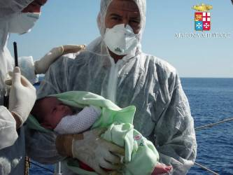 File Italy's Operation Mare Nostrum rescued record numbers of migrants from the Mediterranean Sea between North Africa and Italy (Italian Navy photo)
