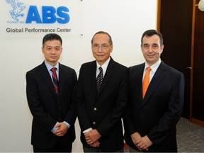 File Dr. George Wang, ABS Head of Vessel Performance of the Global Performance Center; Ah Kuan Seah, ABS Director of the Global Performance Center and Dr. Franck Violette, ABS Head of Energy Efficiency and Environmental Performance of the Global Performance Center. Photo: ABS