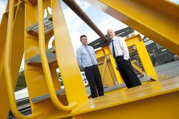 File (L to R): ACE Winches chief operating officer Graeme Wood and Cosalt Offshore CEO Rod Buchan with the new 50-tonne spooling winch.