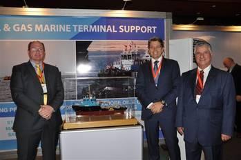 File Ian David Hugo, Managing Director AfrikDelta Marine Ltd (ADML), Daan Koornneef Group CEO Smit Lamnalco and Anwar Jarmakani, Chairman AfrikDelta Marine Ltd at the ADML stand, Nigeria Oil & Gas 2013.
