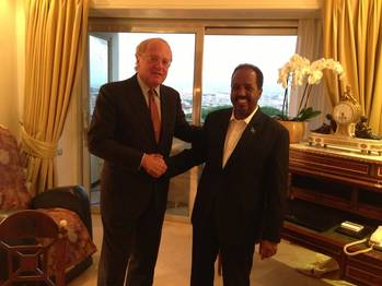 File Eni's CEO, Paolo Scaroni and The President of the Federal Republic of Somalia, Sheikh Hassan Mohamud.