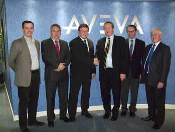 File Magne Bakke, Chief Operating Officer, STX OSV AS and Richard Longdon, CEO, AVEVA with colleagues.