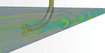 File Figure 1:  CFD simulates mixing of two  fluids in a pipe for type approval.