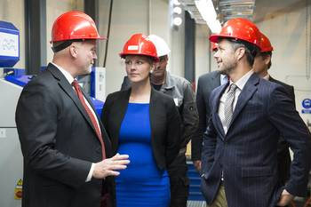 File HRH Crown Prince Fredrik of Denmark tours the Alfa Laval Test & Training Center together with Ida Auken, Danish Minister for the Environment. Their guide is Lars Skytte Jørgensen, Vice President of Alfa Laval Product Center Boilers, which is responsible for the facility.
