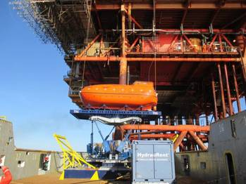File A lifeboat on the Ampelmann system right before installation (Photo courtesy of Ampelmann)
