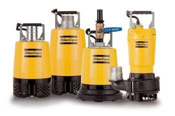 File The new Atlas Copco WEDA small range pumps include: (left to right) WEDA04 and WEDA08 drainage pumps, WEDA04B residual pump and WEDA08S sludge pump
