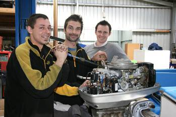 File Pictured: Dean Smith, Steve Kartsaklis and Mark Isaacs at MEGT Australian Apprenticeships Center