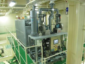 File Shipboard installation of electrochlorination system for generating sodium hypochlorite.