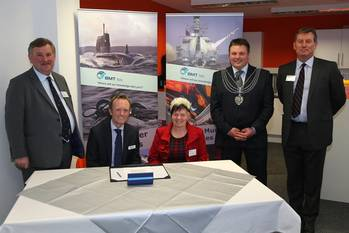 File (left to right): Oliver Colvile, MP for Plymouth, Sutton & Devonport; Mike Prince, Managing Director of BMT Isis; Councillor Pauline Murphy; Nigel Churchill, Deputy Lord Mayor of Plymouth; Major General David Hook CBE, Royal Marines.