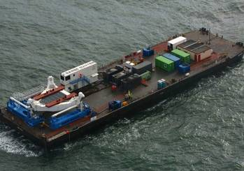 File Aerial view of Barge Master platform: Photo courtesy of the manufacturers