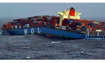 File MOL Comfort before sinking: Photo courtesy Indian Coast Guard