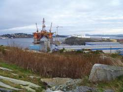File The semi-submersible Songa Delta rig at Coast Centre Base, near Bergen, Norway, for regular 5-year maintenance in November 2011.