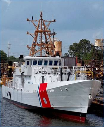 File The lead Sentinel-class Fast Response Cutter, the Bernard C. Webber, enters the water for the first time on April 21. The cutter's mast was installed a little over a week after the launch. U.S. Coast Guard photo.