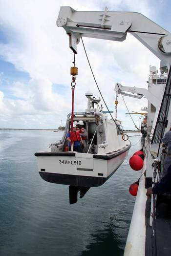 File USNS Bowditch lowering inshore survey boat: Photo credit USN