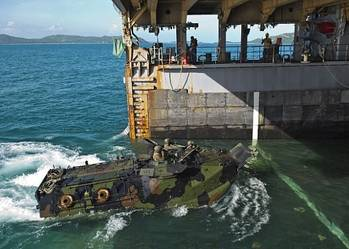 File Amphibious Vehicle enters dock-ship USS Tortuga: Photo credit USN