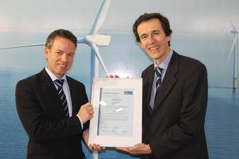 File Picture from left to right: Holger Trecksel, Head of Business Development and Sales, GL RC hands the certificate over to Yves Vanlinthout from CG.