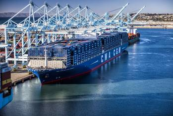 File File Image: The CMA CGM Containership Benjamin Franklin is built to carry nearly 18,000 Twenty-Foot Equivalent Units (image: Marad)