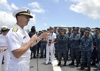 File CNO Adm. Jonathan Greenert on ship visit: Photo credit USN