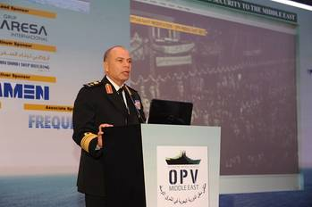 "File ""Egyptian forces are committed to making the canal safe and secure, in cooperation with our partners,"" said Vice Admiral Osama El-Gendy, Chief of Naval Forces for the Egyptian Navy in his keynote address to the delegates at OPV Middle East in Abu Dhabi, UAE. (IQPC photo)"