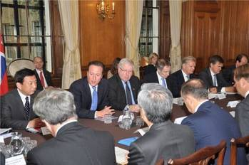 File PM David Cameron in discussions: Photo credit Maritime UK