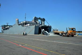 File Chemical container loading. U.S. Navy photo by Mass Communication Specialist Seaman Desmond Parks