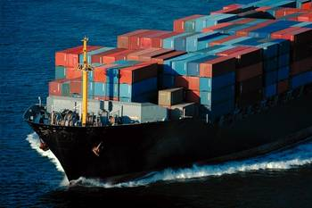 File Marad Photo: fully loaded container ship at sea