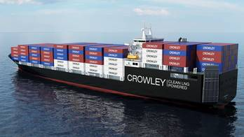 File Crowley depiction: larger, faster and environmentally-friendly liquefied natural gas (LNG)-powered, combination container – Roll-On/Roll-Off (ConRo) ships.