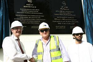File (From Left to Right) Geoff Taylor, Executive Chairman, Drydocks World, Grahame McCaig, General Manager, Dutco Balfour Beatty LLC and Hamed Mohammed bin Lahej, Executive Vice-Chairman, Drydocks World, inaugurate the new FPSO Quay.