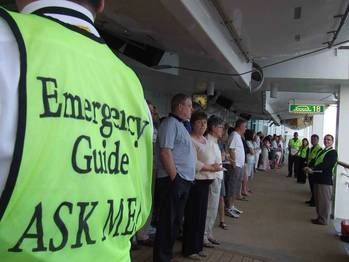 File A safety drill conducted at a cruise ship visiting Dubai.
