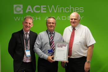File City a& Guilds Regional Manager for Scotland, Robert Bruce, ACE Winches COO, Graham Thomson and ACE Winch Academy Manager, David Moxey.
