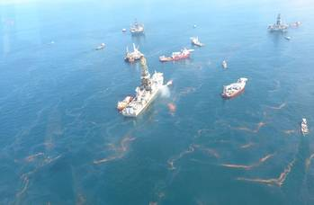 File Oil near the Deepwater Horizon disaster spill source as seen during an aerial overflight on May 20, 2010. (Credit: NOAA)