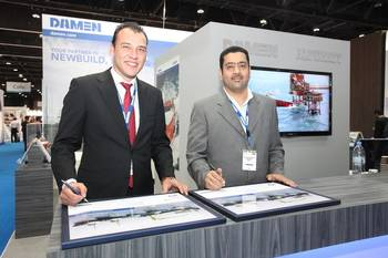 File Boran Bekbulat (l), Damen Sales Middle East, and Khaled A. Bin Nowiran (r), Managing Director BINCO (Photo: Damen)