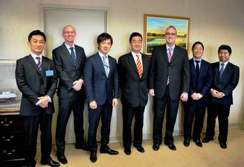 File From left: Kazuhiro Yokoi (Chubu Electric Power Company), David Tubman (FMC), Yoshiro Taguchi (Japanese Embassy), Hidehiro Muramatsu (Japan Oil, Gas, and Metals National Corp.), William Doyle (FMC Commissioner), Takashi Horie (Mitsubishi), and Nobukazu Nagai (Japan International Transport Institute, USA).