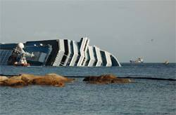 File Picture showing the Costa Concordia with Salina Bay to the right