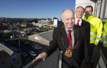 File Aberdeen's Lord Provost, George Adam (front), with EnQuest's managing director, David Heslop (centre) and Drum Property Group director, Graeme Bone.