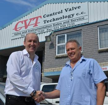File EnerMech chief executive officer Doug Duguid, left, with CVT managing director Stephen David in Cape Town