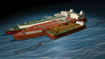 File Depiction of the world's first Floating LNG Liquefaction, Regasification and Storage Unit (FLRSU)