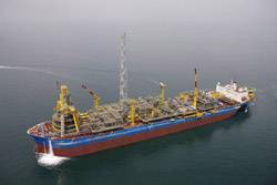 File Pictured is the Espirito Santo Floating Production, Storage and Offloading (FPSO) vessel, the type of vessel that will soon be working offshore in the Gulf of Mexico. (Photo courtesy Shell)