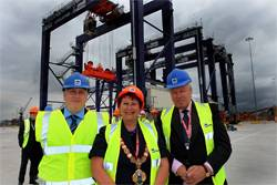 File Andrew Oxby, Operations Manager, Teesdock, PD Ports (left), Olwyn Peters, Mayor of Redcar and Cleveland (center) and Pekka Huhtaniemi, Finnish Ambassador for the UK (right).