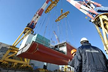 File Costa Cruise Ship First Building Block Hoisted: Photo credit Fincantieri