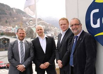 File From left: Sebastian Rasmussen (Logistics & Projects Manager), Henrik P. Lassen (VP Operations) and Jan Almqvist (MD) of POLOG with Ahmet Özsoy, Managing Director of GAC Norway
