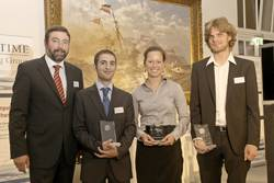 File After the presentation of the Awards, (from left to right), Torsten Schramm, Chief Operating Officer of GL, and the prize winners Edward Sciberras, Katja Hartig, and Fabian Tillig.