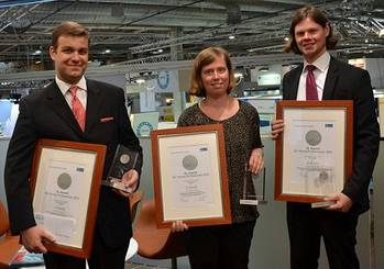 File The three winners of the GL Young Professional Award. From left to right: Lampros Nikolopoulos, Eva Binkowski and Hannes Lindner.