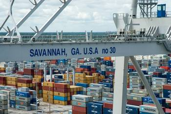 File Four new ship-to-shore cranes were commissioned at the Georgia Ports Authority